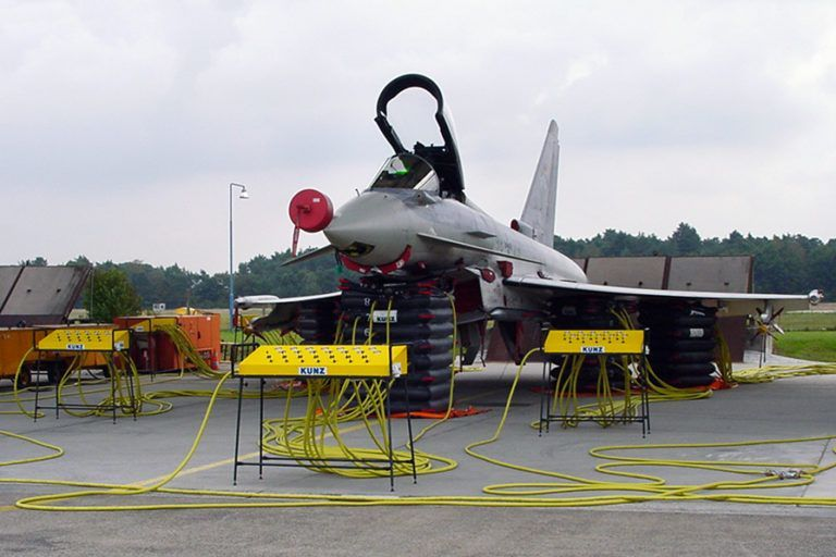 """KUNZ RLB Recovery Lifting Bags in action for the new Fighter Aircraft """"Typhoon"""" (Eurofighter)"""
